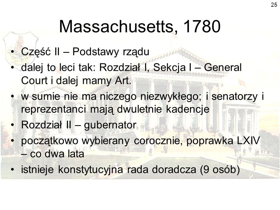 25 Massachusetts, 1780 Część II – Podstawy rządu dalej to leci tak: Rozdział I, Sekcja I – General Court i dalej mamy Art.