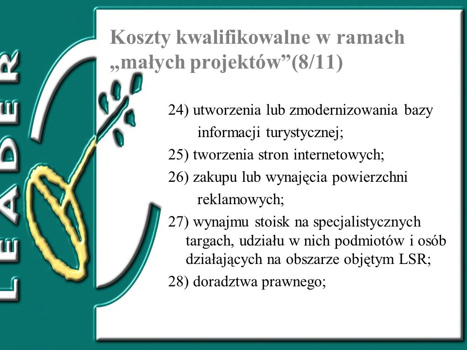 Koszty kwalifikowalne w ramach małych projektów(8/11) 24) utworzenia lub zmodernizowania bazy informacji turystycznej; 25) tworzenia stron internetowy