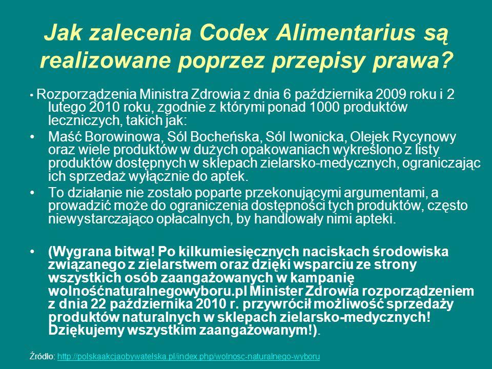 Jak zalecenia Codex Alimentarius są realizowane poprzez przepisy prawa? Rozporządzenia Ministra Zdrowia z dnia 6 października 2009 roku i 2 lutego 201