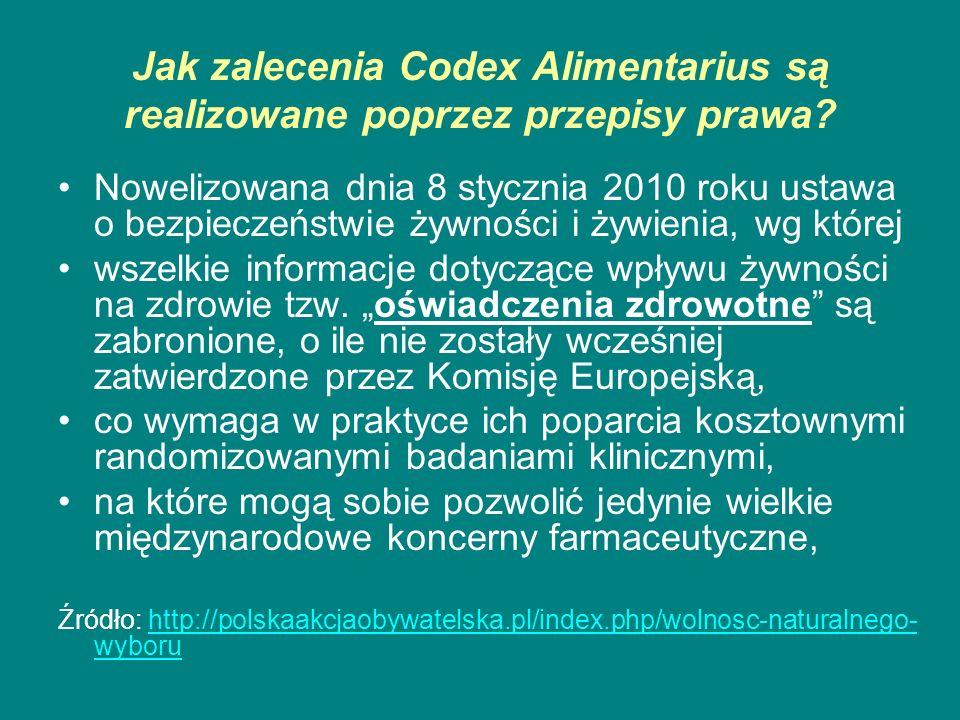 Jak zalecenia Codex Alimentarius są realizowane poprzez przepisy prawa? Nowelizowana dnia 8 stycznia 2010 roku ustawa o bezpieczeństwie żywności i żyw