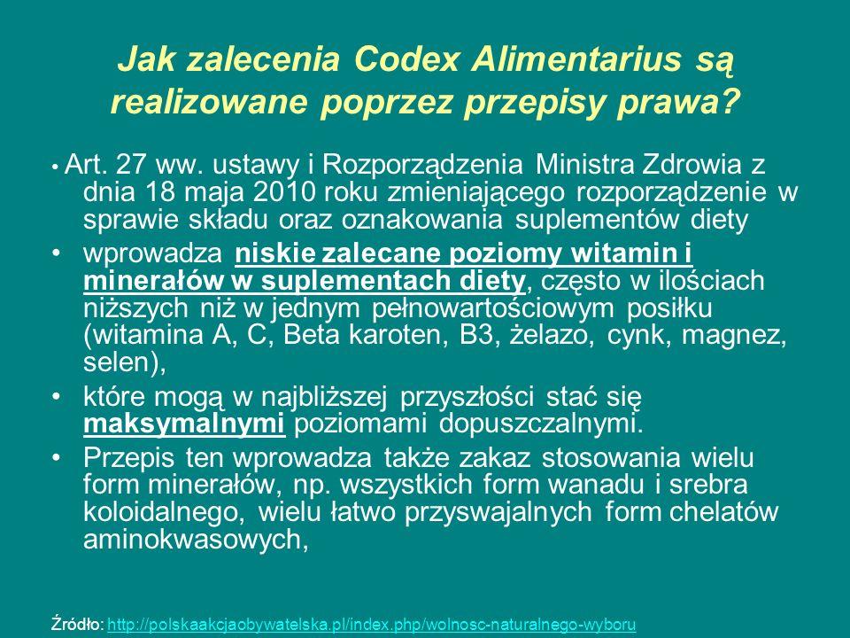 Jak zalecenia Codex Alimentarius są realizowane poprzez przepisy prawa? Art. 27 ww. ustawy i Rozporządzenia Ministra Zdrowia z dnia 18 maja 2010 roku
