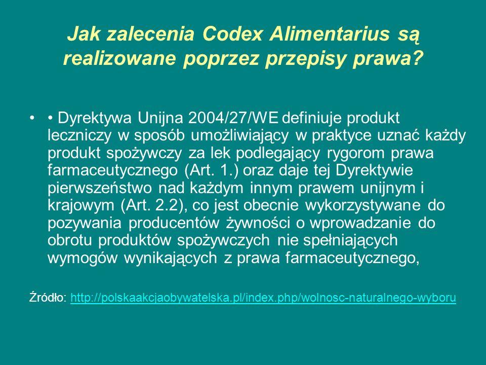 Jak zalecenia Codex Alimentarius są realizowane poprzez przepisy prawa? Dyrektywa Unijna 2004/27/WE definiuje produkt leczniczy w sposób umożliwiający