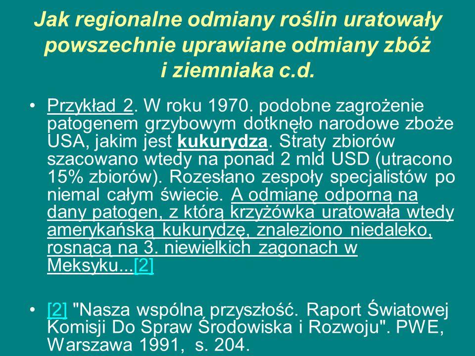 Jak regionalne odmiany roślin uratowały powszechnie uprawiane odmiany zbóż i ziemniaka c.d. Przykład 2. W roku 1970. podobne zagrożenie patogenem grzy