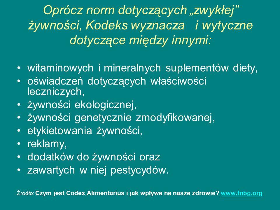 Oprócz norm dotyczących zwykłej żywności, Kodeks wyznacza i wytyczne dotyczące między innymi: witaminowych i mineralnych suplementów diety, oświadczeń
