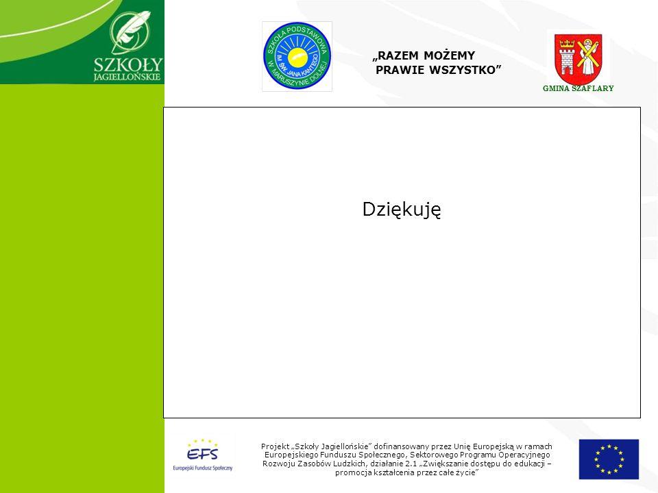 10 Projekt Szkoły Jagiellońskie dofinansowany przez Unię Europejską w ramach Europejskiego Funduszu Społecznego, Sektorowego Programu Operacyjnego Rozwoju Zasobów Ludzkich, działanie 2.1 Zwiększanie dostępu do edukacji – promocja kształcenia przez całe życie Dziękuję RAZEM MOŻEMY PRAWIE WSZYSTKO GMINA SZAFLARY