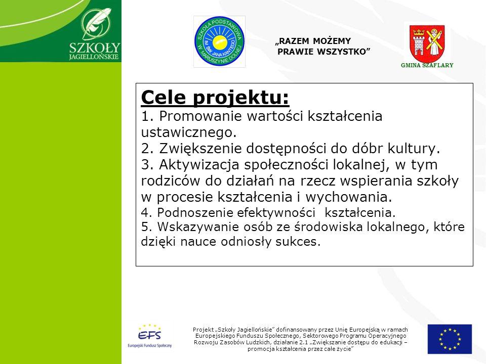 5 Projekt Szkoły Jagiellońskie dofinansowany przez Unię Europejską w ramach Europejskiego Funduszu Społecznego, Sektorowego Programu Operacyjnego Rozwoju Zasobów Ludzkich, działanie 2.1 Zwiększanie dostępu do edukacji – promocja kształcenia przez całe życie Cele projektu: 1.