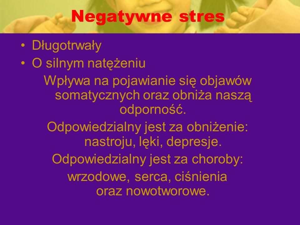 Negatywne stres Długotrwały O silnym natężeniu Wpływa na pojawianie się objawów somatycznych oraz obniża naszą odporność. Odpowiedzialny jest za obniż