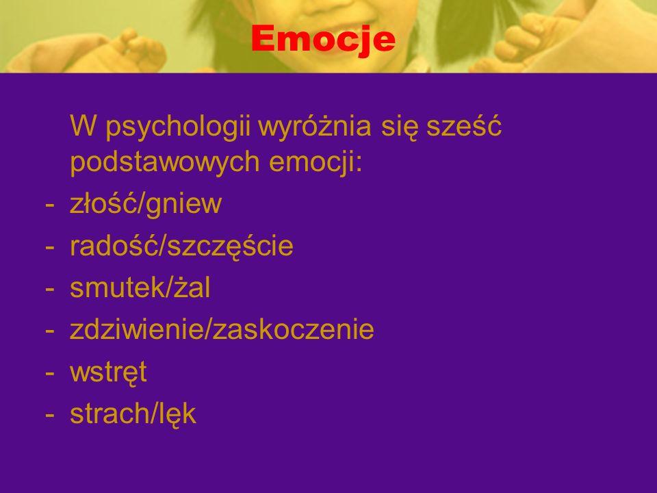 Emocje W psychologii wyróżnia się sześć podstawowych emocji: -złość/gniew -radość/szczęście -smutek/żal -zdziwienie/zaskoczenie -wstręt -strach/lęk