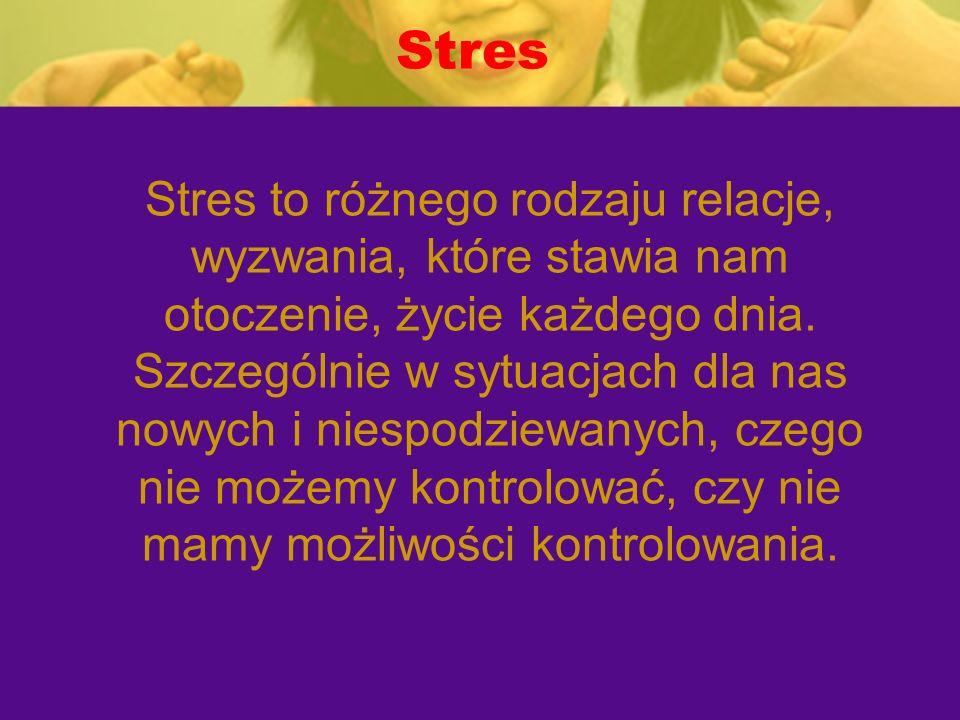 Stres Stres to różnego rodzaju relacje, wyzwania, które stawia nam otoczenie, życie każdego dnia. Szczególnie w sytuacjach dla nas nowych i niespodzie