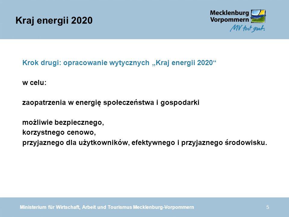 Ministerium für Wirtschaft, Arbeit und Tourismus Mecklenburg-Vorpommern5 Krok drugi: opracowanie wytycznych Kraj energii 2020 w celu: zaopatrzenia w energię społeczeństwa i gospodarki możliwie bezpiecznego, korzystnego cenowo, przyjaznego dla użytkowników, efektywnego i przyjaznego środowisku.