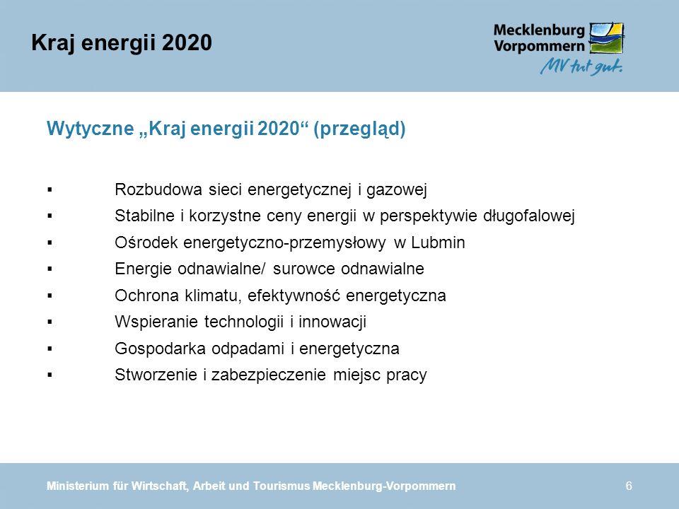 Ministerium für Wirtschaft, Arbeit und Tourismus Mecklenburg-Vorpommern6 Wytyczne Kraj energii 2020 (przegląd) Rozbudowa sieci energetycznej i gazowej Stabilne i korzystne ceny energii w perspektywie długofalowej Ośrodek energetyczno-przemysłowy w Lubmin Energie odnawialne/ surowce odnawialne Ochrona klimatu, efektywność energetyczna Wspieranie technologii i innowacji Gospodarka odpadami i energetyczna Stworzenie i zabezpieczenie miejsc pracy Kraj energii 2020