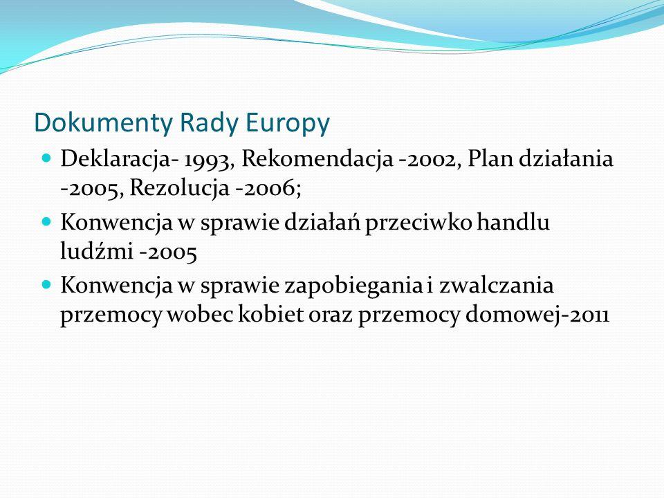 Dokumenty Rady Europy Deklaracja- 1993, Rekomendacja -2002, Plan działania -2005, Rezolucja -2006; Konwencja w sprawie działań przeciwko handlu ludźmi