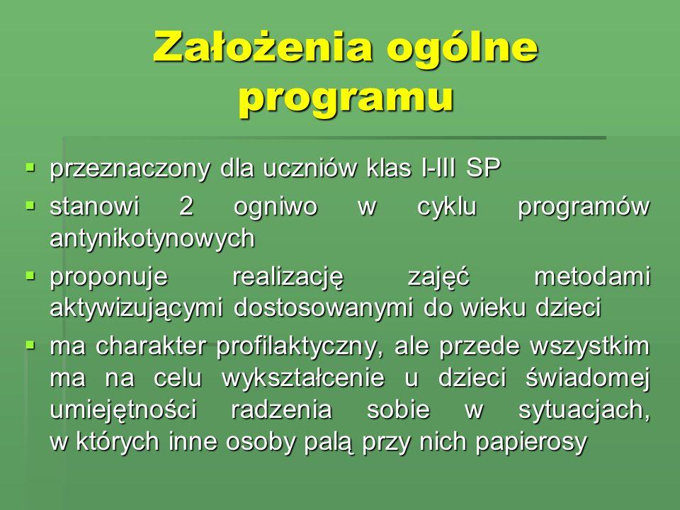 Założenia ogólne programu przeznaczony dla uczniów klas I-III SP przeznaczony dla uczniów klas I-III SP stanowi 2 ogniwo w cyklu programów antynikotyn