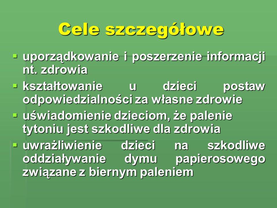 Cele szczegółowe uporządkowanie i poszerzenie informacji nt. zdrowia uporządkowanie i poszerzenie informacji nt. zdrowia kształtowanie u dzieci postaw