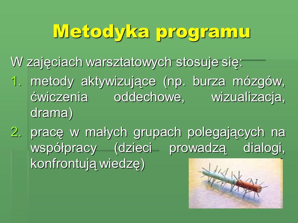 Metodyka programu W zajęciach warsztatowych stosuje się: 1.metody aktywizujące (np. burza mózgów, ćwiczenia oddechowe, wizualizacja, drama) 2.pracę w