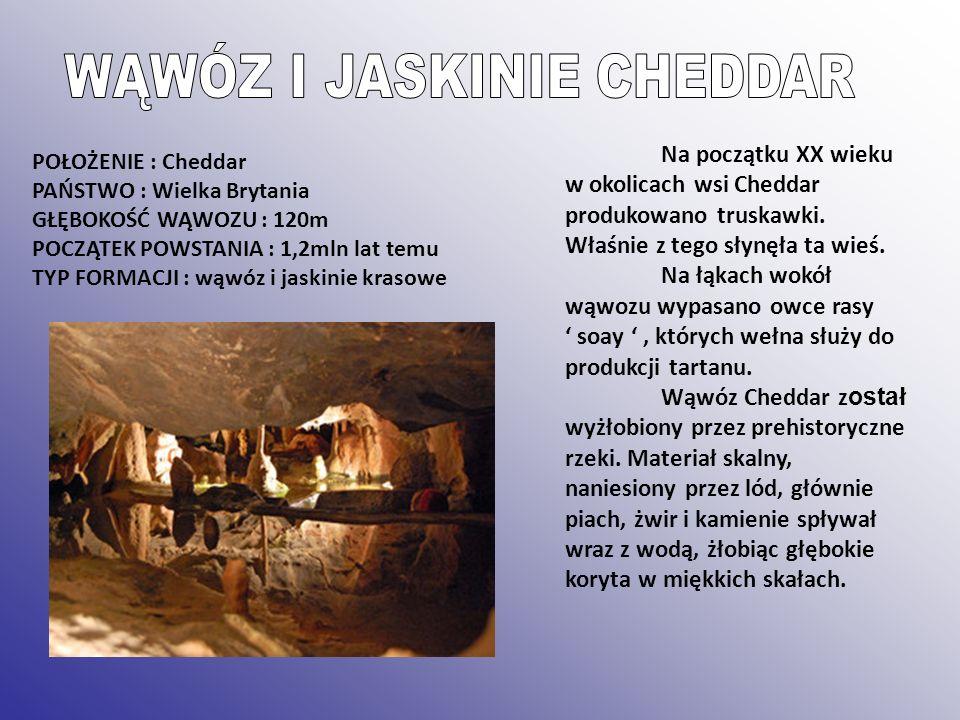 POŁOŻENIE : Cheddar PAŃSTWO : Wielka Brytania GŁĘBOKOŚĆ WĄWOZU : 120m POCZĄTEK POWSTANIA : 1,2mln lat temu TYP FORMACJI : wąwóz i jaskinie krasowe Na