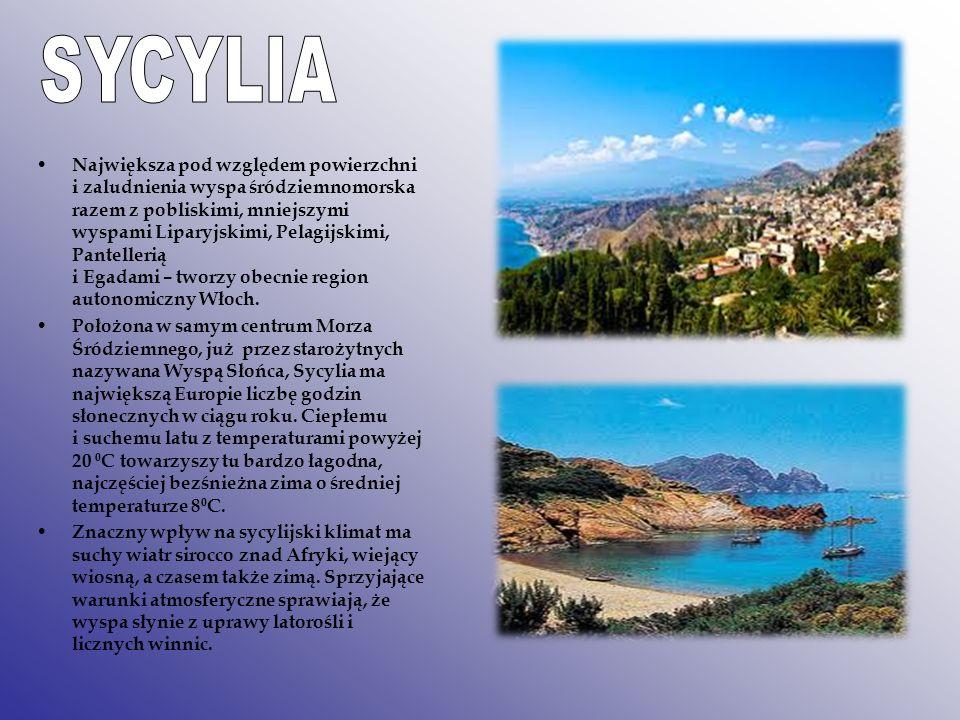 Największa pod względem powierzchni i zaludnienia wyspa śródziemnomorska razem z pobliskimi, mniejszymi wyspami Liparyjskimi, Pelagijskimi, Pantelleri