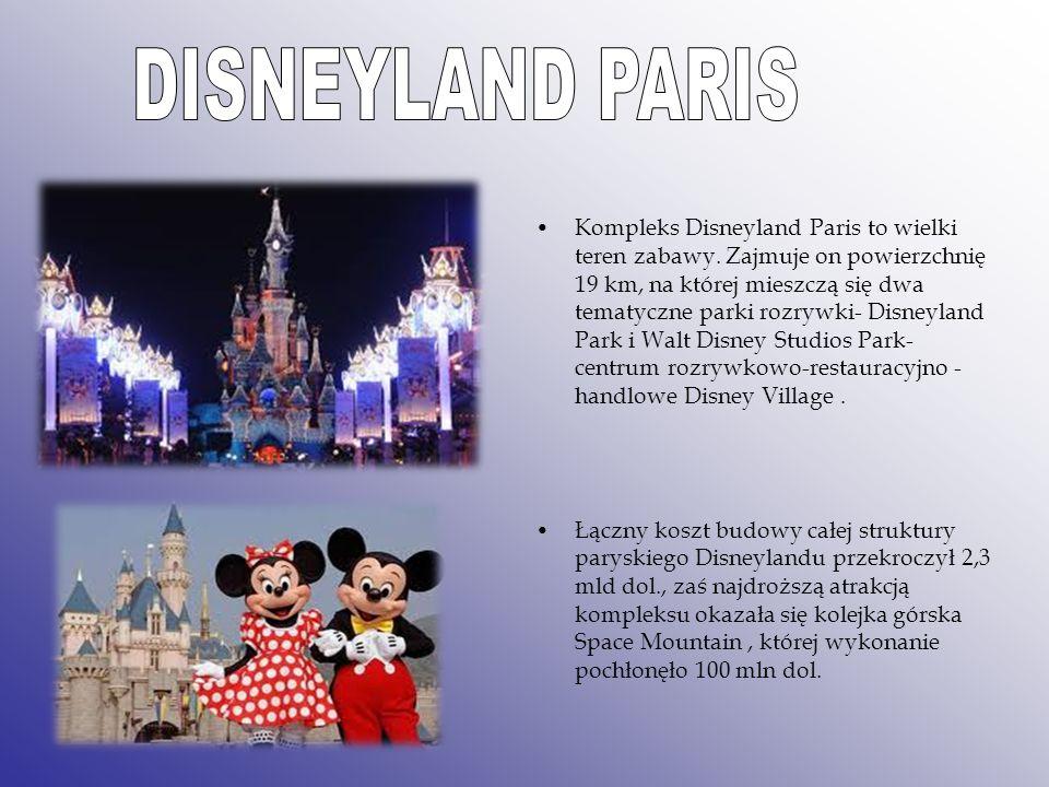Kompleks Disneyland Paris to wielki teren zabawy. Zajmuje on powierzchnię 19 km, na której mieszczą się dwa tematyczne parki rozrywki- Disneyland Park