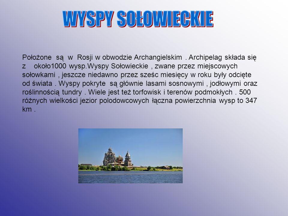 Położone są w Rosji w obwodzie Archangielskim. Archipelag składa się z około1000 wysp.Wyspy Sołowieckie, zwane przez miejscowych sołowkami, jeszcze ni