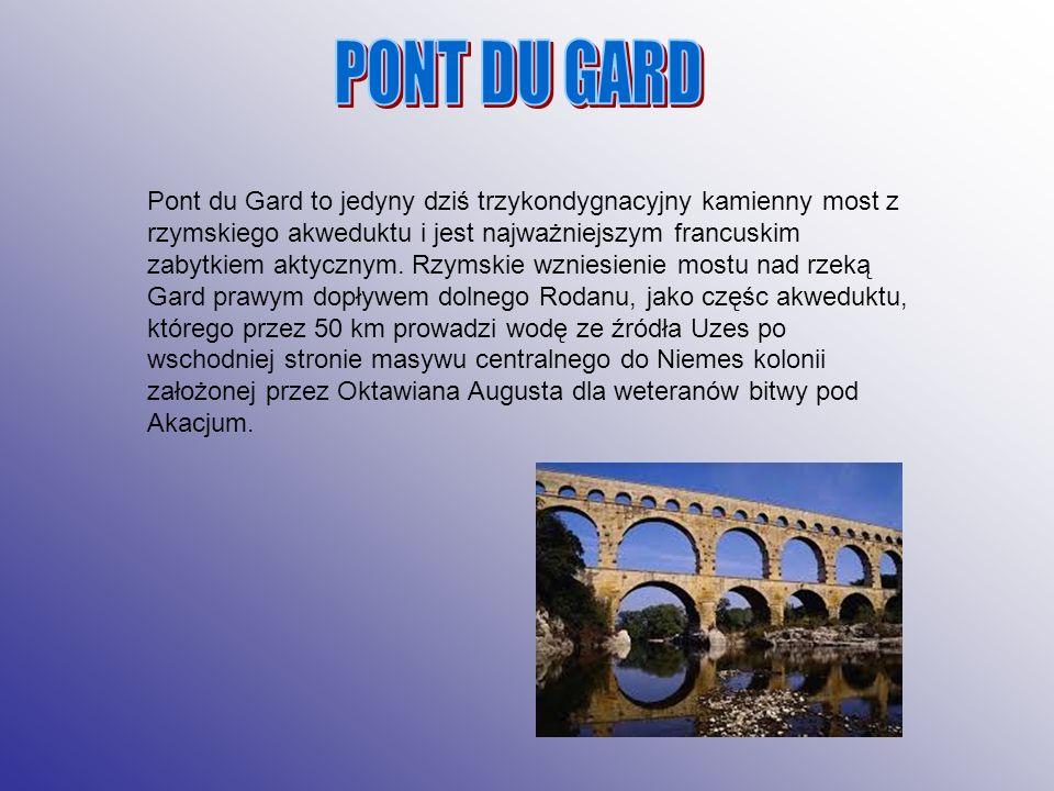 Pont du Gard to jedyny dziś trzykondygnacyjny kamienny most z rzymskiego akweduktu i jest najważniejszym francuskim zabytkiem aktycznym. Rzymskie wzni