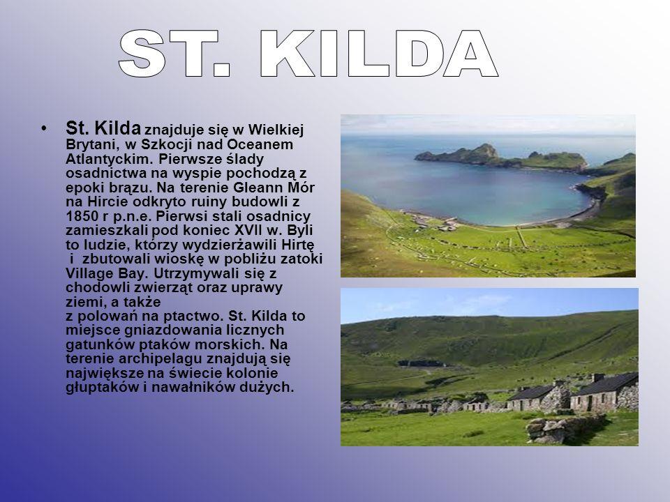 St. Kilda znajduje się w Wielkiej Brytani, w Szkocji nad Oceanem Atlantyckim. Pierwsze ślady osadnictwa na wyspie pochodzą z epoki brązu. Na terenie G