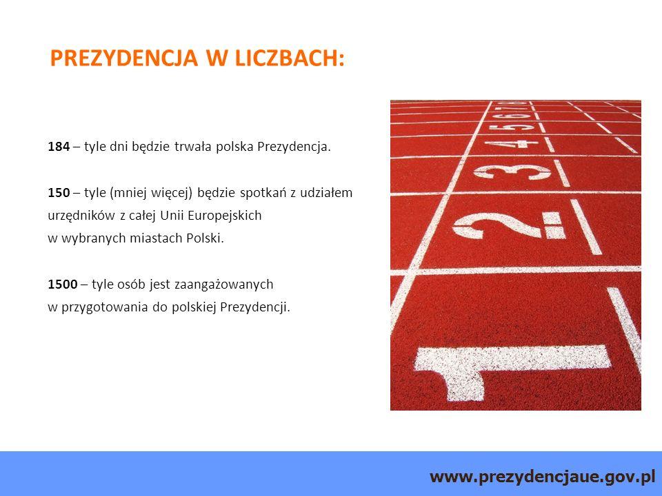 www.prezydencjaue.gov.pl PREZYDENCJA W LICZBACH: 184 – tyle dni będzie trwała polska Prezydencja.