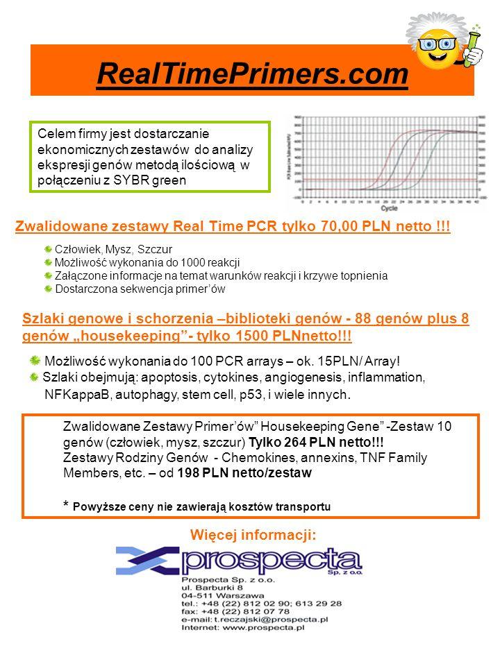 Zwalidowane zestawy Real Time PCR tylko 70,00 PLN netto !!! Celem firmy jest dostarczanie ekonomicznych zestawów do analizy ekspresji genów metodą ilo