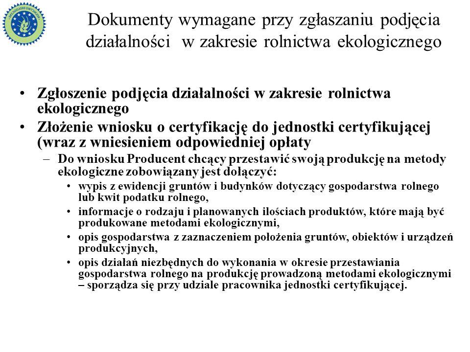 Dokumenty wymagane przy zgłaszaniu podjęcia działalności w zakresie rolnictwa ekologicznego Zgłoszenie podjęcia działalności w zakresie rolnictwa ekol