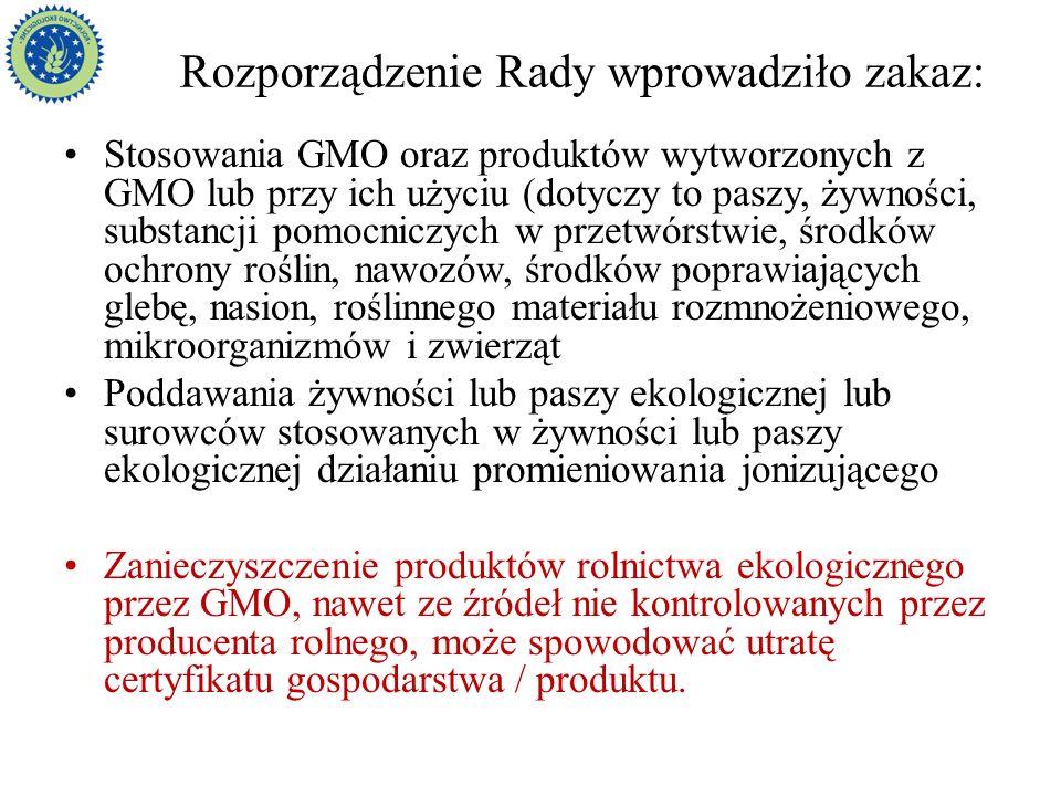 Rozporządzenie Rady wprowadziło zakaz: Stosowania GMO oraz produktów wytworzonych z GMO lub przy ich użyciu (dotyczy to paszy, żywności, substancji po