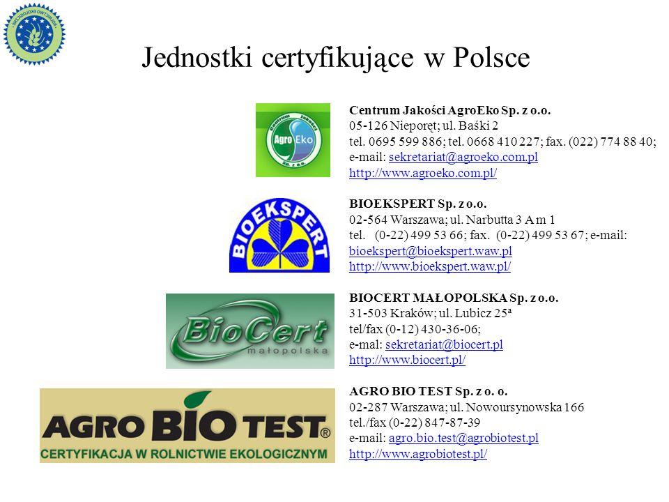 Jednostki certyfikujące w Polsce Centrum Jakości AgroEko Sp. z o.o. 05-126 Nieporęt; ul. Baśki 2 tel. 0695 599 886; tel. 0668 410 227; fax. (022) 774