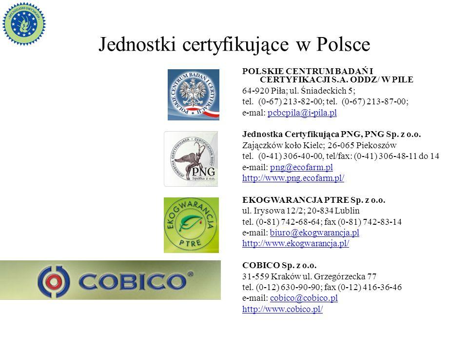 Jednostki certyfikujące w Polsce POLSKIE CENTRUM BADAŃ I CERTYFIKACJI S.A. ODDZ/ W PILE 64-920 Piła; ul. Śniadeckich 5; tel. (0-67) 213-82-00; tel. (0