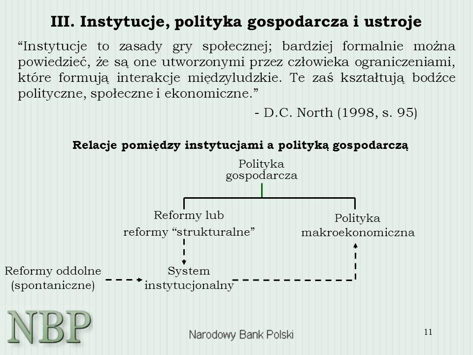 11 III. Instytucje, polityka gospodarcza i ustroje Instytucje to zasady gry społecznej; bardziej formalnie można powiedzieć, że są one utworzonymi prz