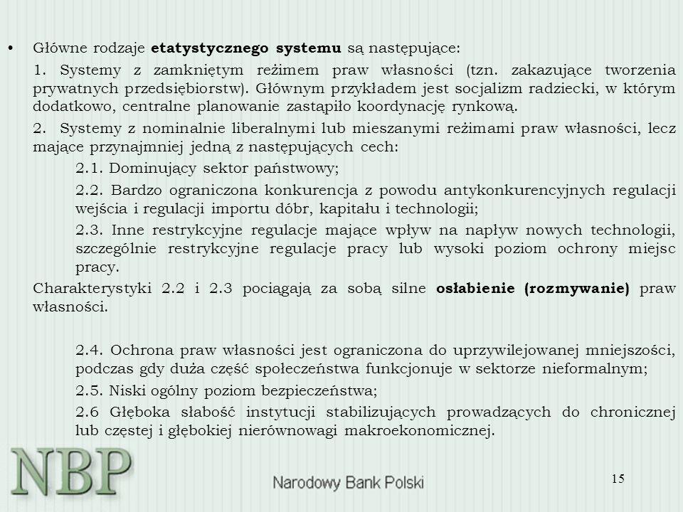15 Główne rodzaje etatystycznego systemu są następujące: 1. Systemy z zamkniętym reżimem praw własności (tzn. zakazujące tworzenia prywatnych przedsię