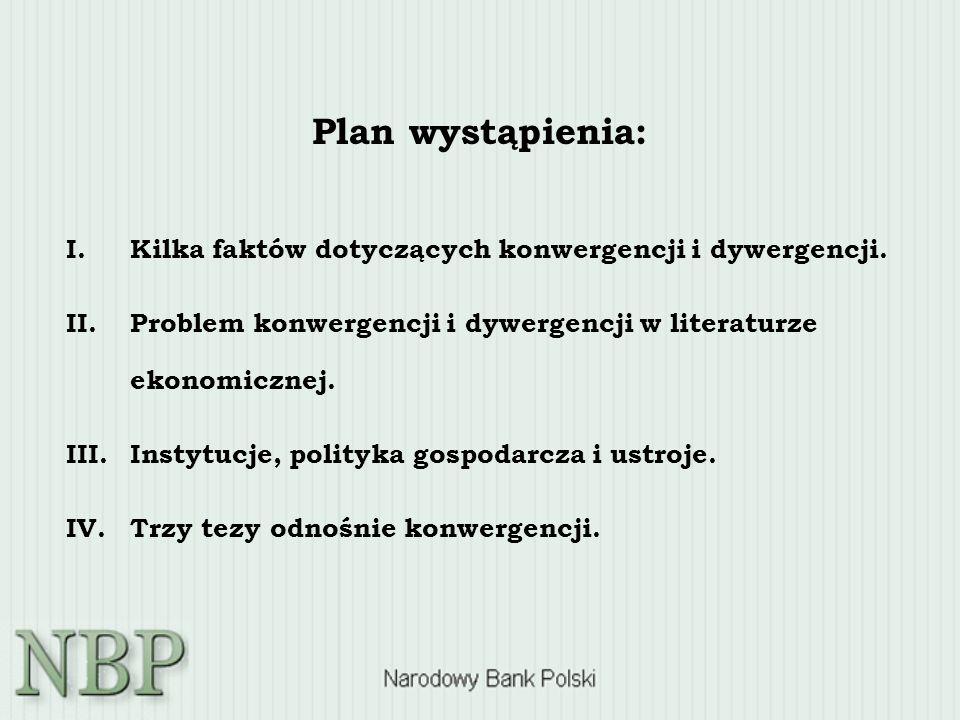 Plan wystąpienia: I. I.Kilka faktów dotyczących konwergencji i dywergencji. II. II.Problem konwergencji i dywergencji w literaturze ekonomicznej. III.