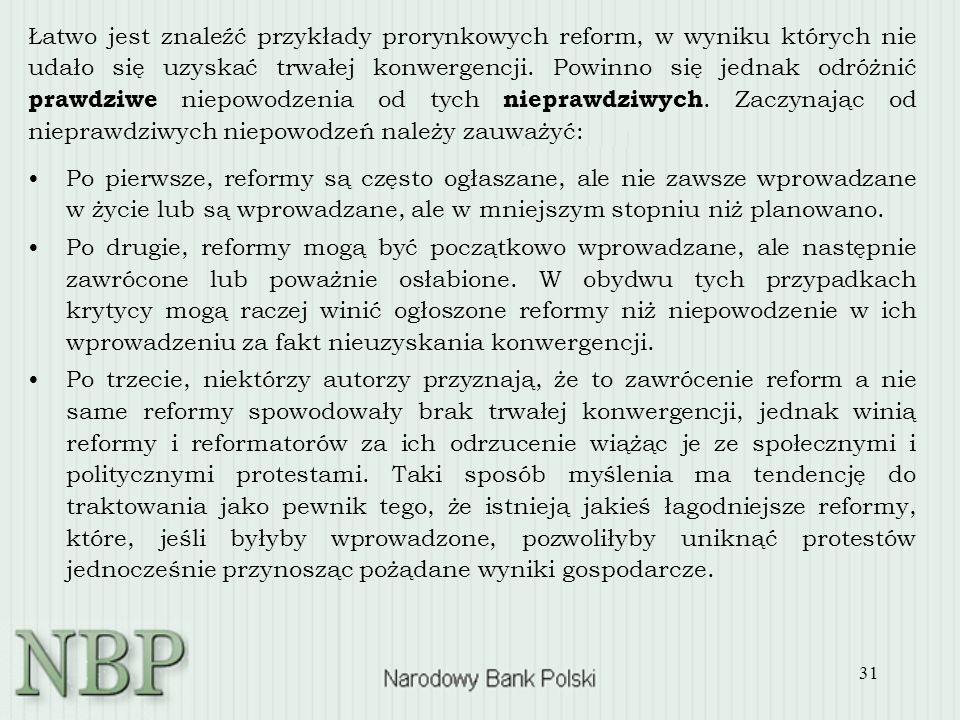31 Łatwo jest znaleźć przykłady prorynkowych reform, w wyniku których nie udało się uzyskać trwałej konwergencji. Powinno się jednak odróżnić prawdziw