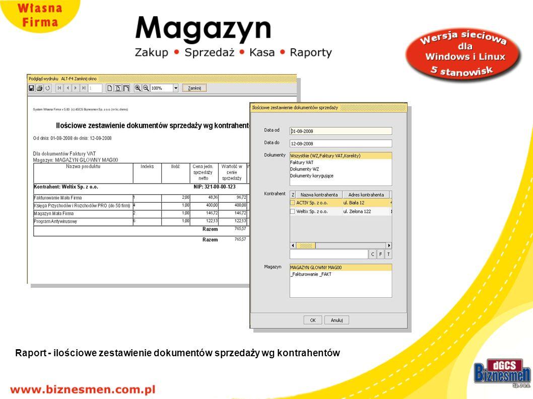 Raport - ilościowe zestawienie dokumentów sprzedaży wg kontrahentów