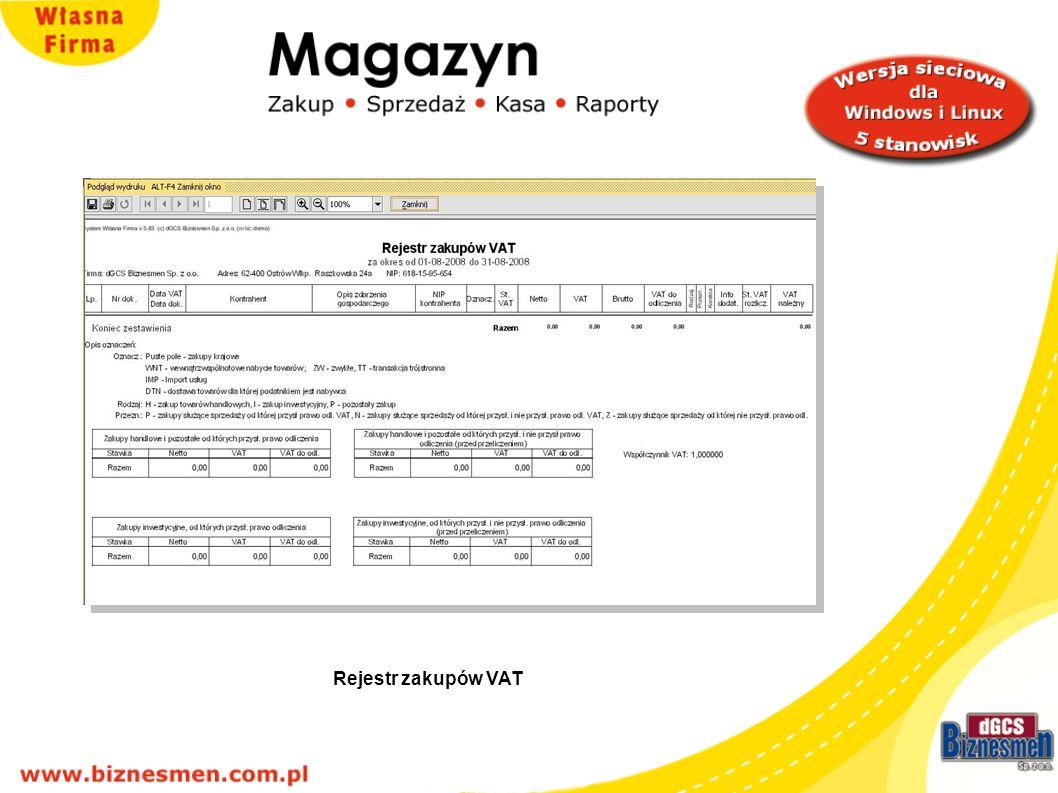 Rejestr zakupów VAT