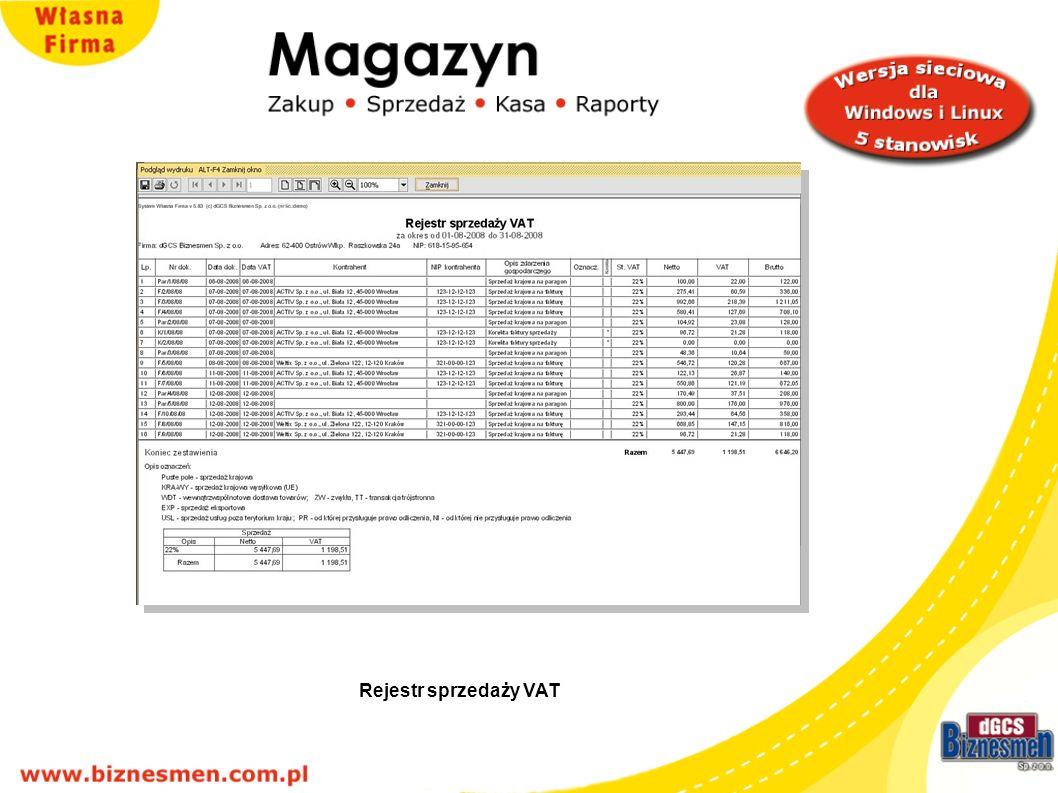 Rejestr sprzedaży VAT