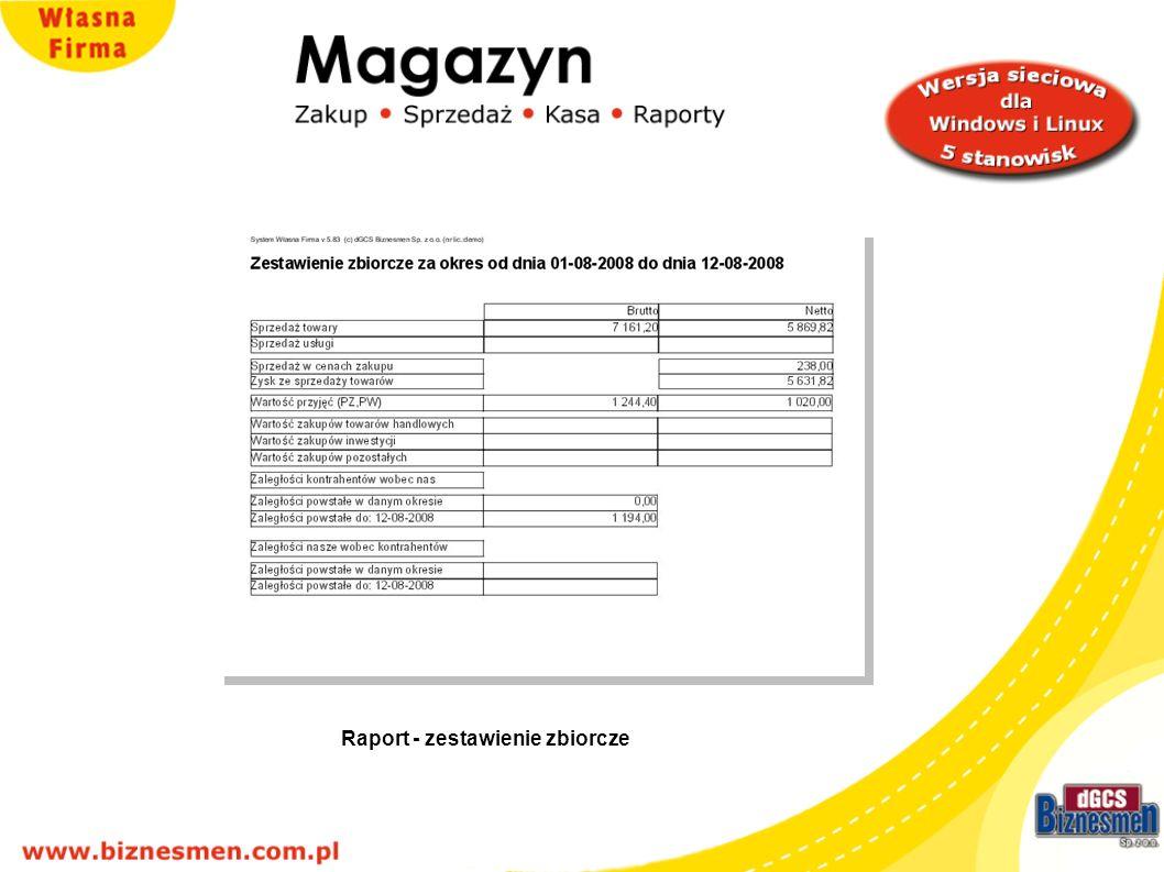 Raport - zestawienie zbiorcze