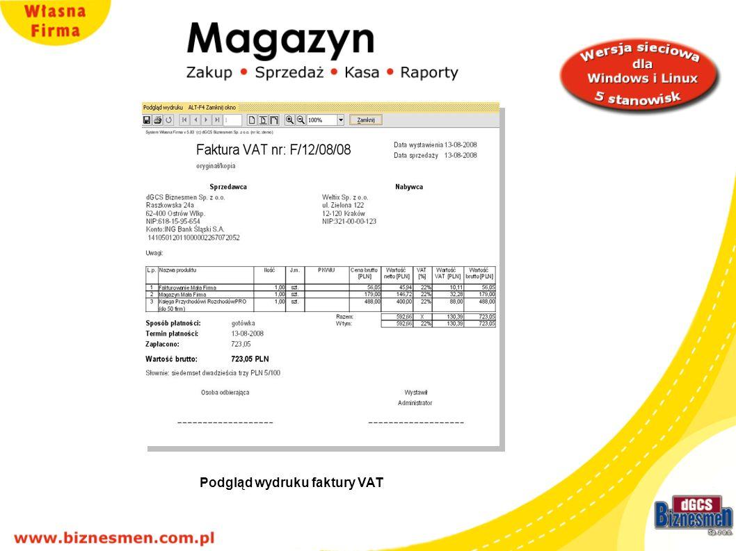 Kartoteka faktur, paragonów, korekt, WZ, RW, PZ, PW – przykład: kartoteka wystawionych faktur VAT