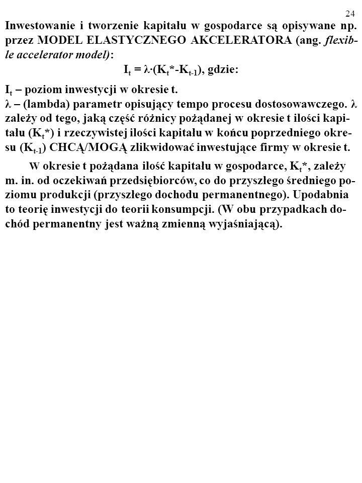 23 Po pewnym czasie* zwiększony strumień inwestycji, I 1 > I 0, skutkuje powstaniem w firmach pożądanego zasobu kapitału K 1 (K 1 >K 0 ).
