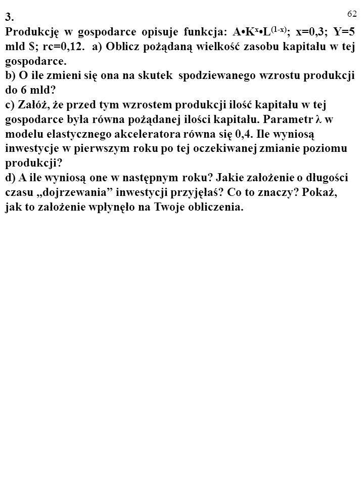 61 2. Produkcję w gospodarce opisuje funkcja: AK xL (1-x).