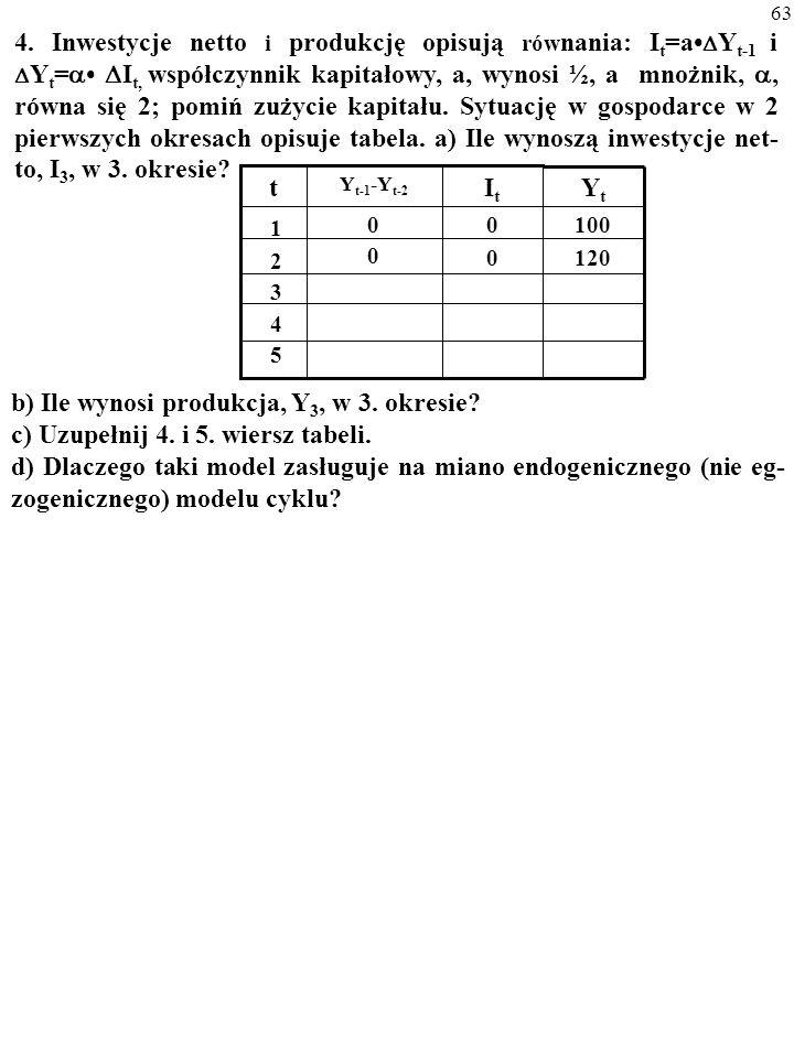 62 3. Produkcję w gospodarce opisuje funkcja: AK xL (1-x) ; x=0,3; Y=5 mld $; rc=0,12.