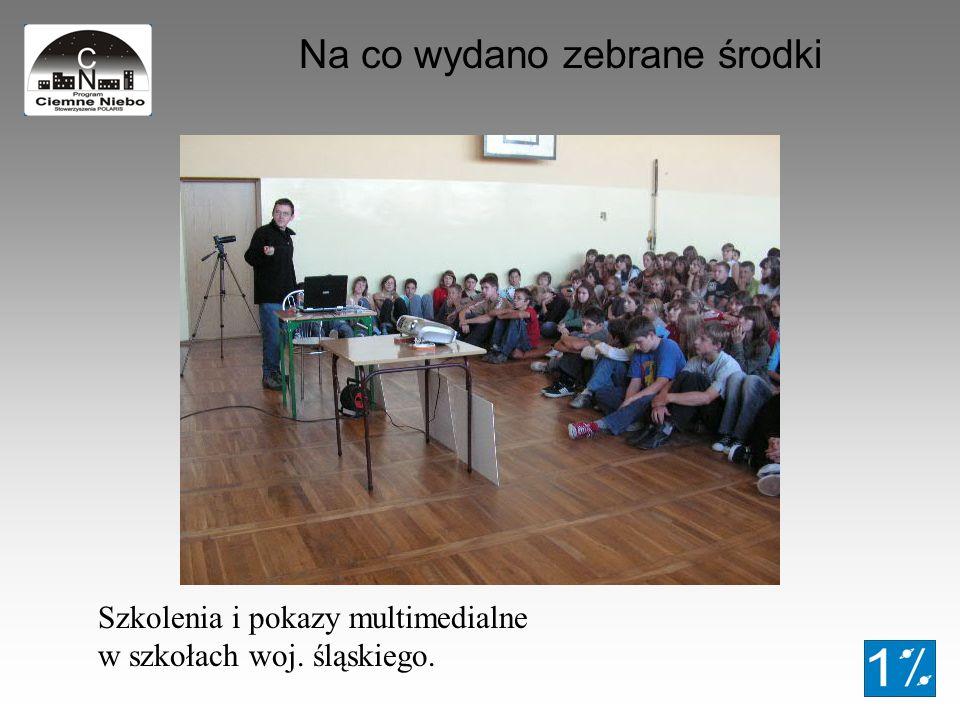 Na co wydano zebrane środki Szkolenia i pokazy multimedialne w szkołach woj. śląskiego.