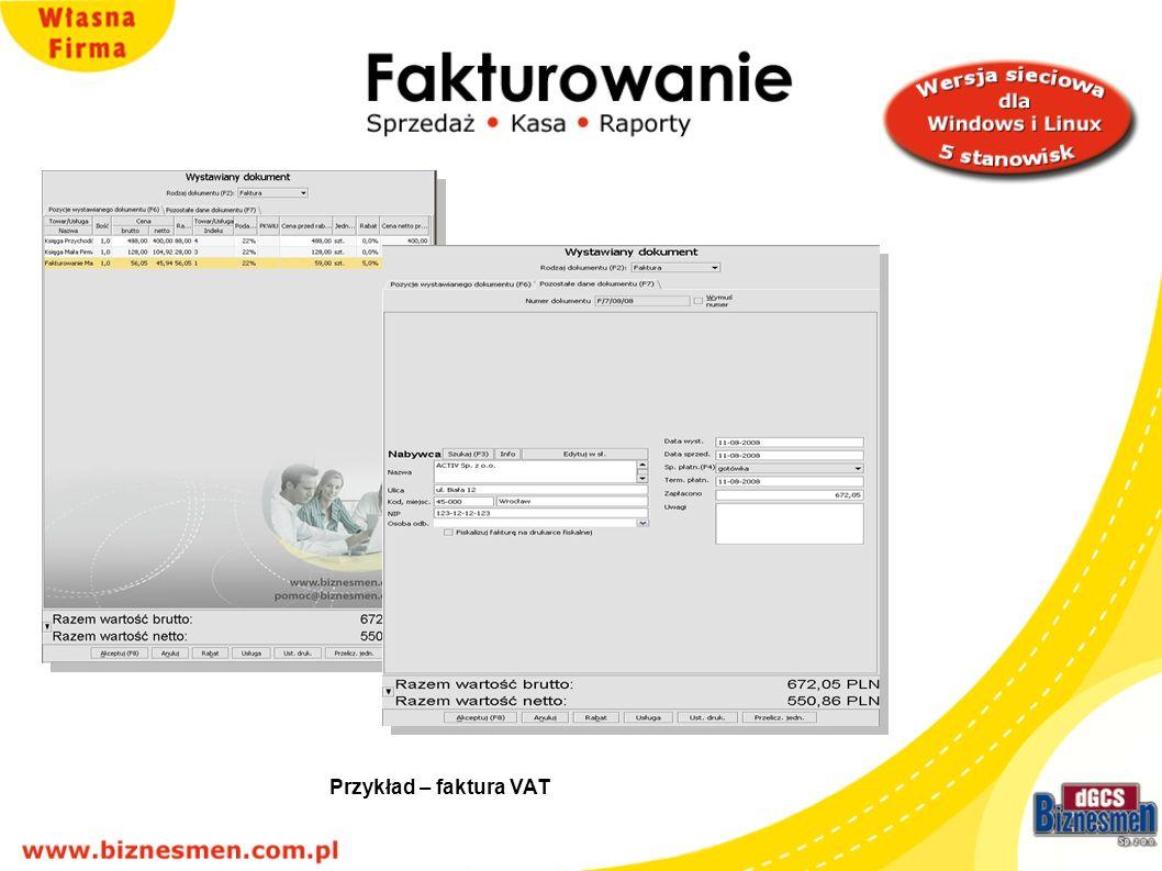 Przykład – faktura VAT