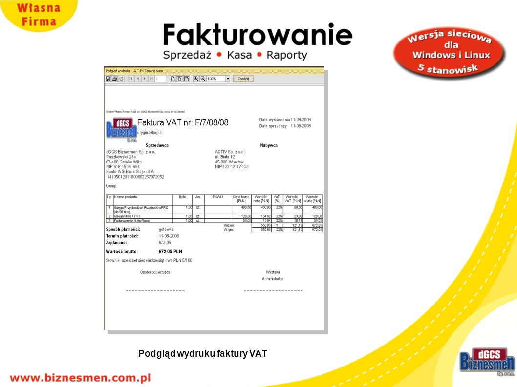 Podgląd wydruku faktury VAT