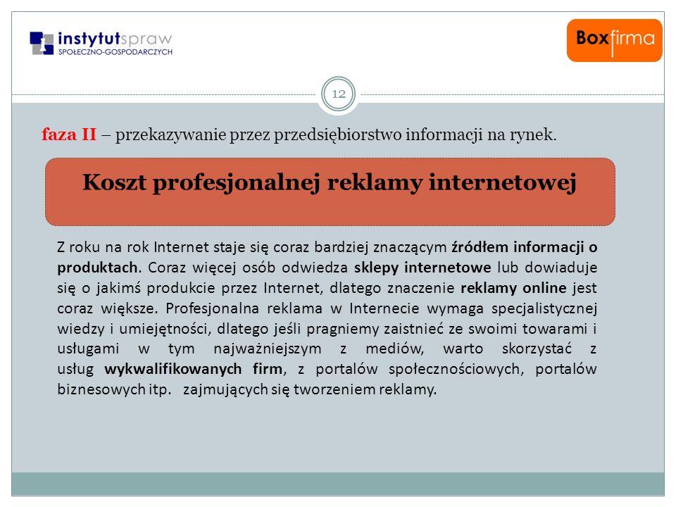 Koszt profesjonalnej reklamy internetowej 12 faza II – przekazywanie przez przedsiębiorstwo informacji na rynek. Z roku na rok Internet staje się cora