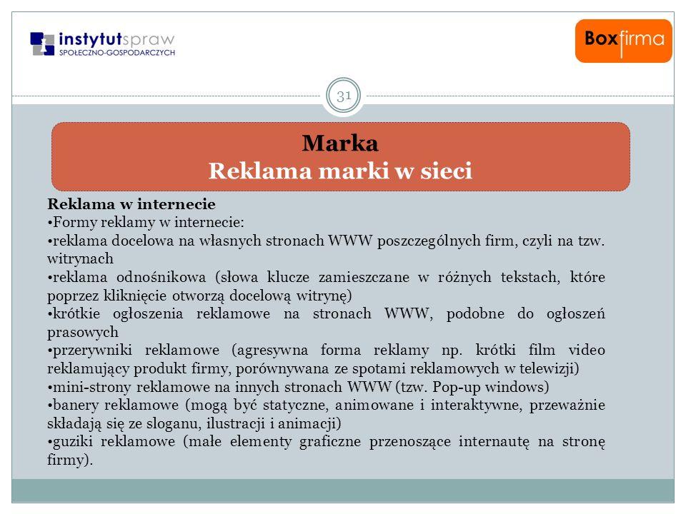 Marka Reklama marki w sieci 31 Reklama w internecie Formy reklamy w internecie: reklama docelowa na własnych stronach WWW poszczególnych firm, czyli n