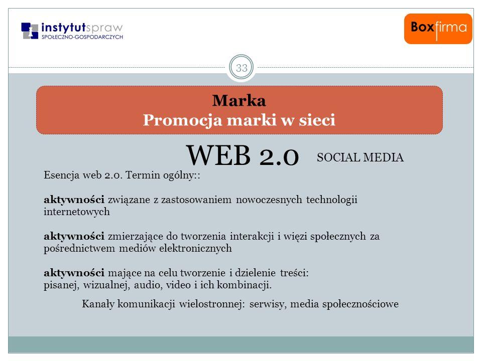 Marka Promocja marki w sieci 33 WEB 2.0 SOCIAL MEDIA Esencja web 2.0. Termin ogólny:: aktywności związane z zastosowaniem nowoczesnych technologii int