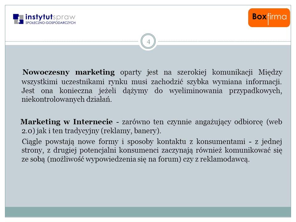 4 Nowoczesny marketing oparty jest na szerokiej komunikacji Między wszystkimi uczestnikami rynku musi zachodzić szybka wymiana informacji. Jest ona ko